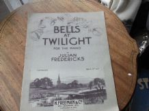 VINTAGE ORIGINAL SHEET MUSIC 1930 BELLS AT TWILIGHT PIANO JULIAN FREDERICKS RARE